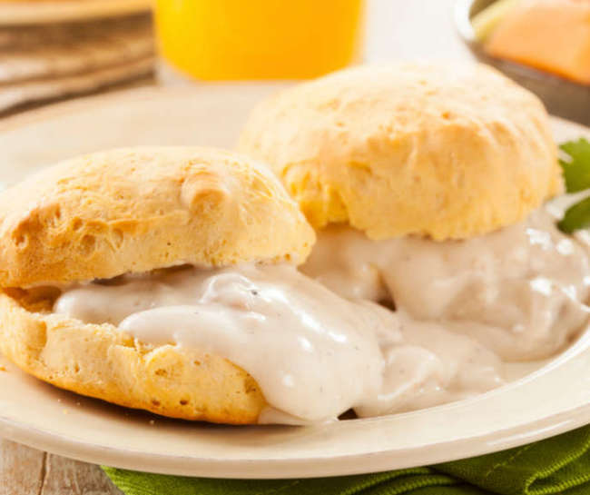 simple foods loved by all American but hates by foreigners Biscuits and Gravy
