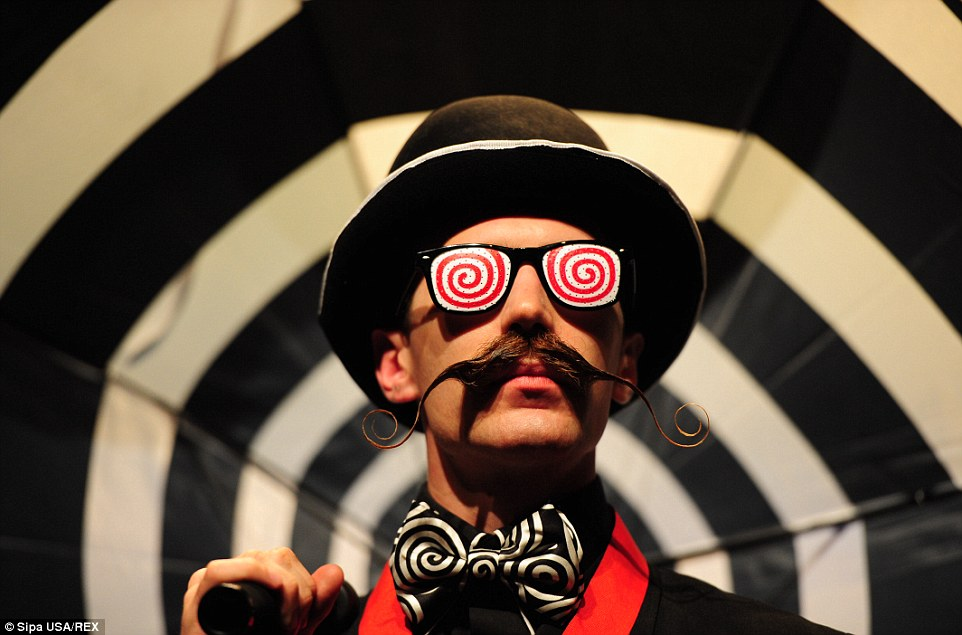 Daniel Lawlor with his Dali style moustache - the facial hair is judged on by how they match the personality and looks of a competitor