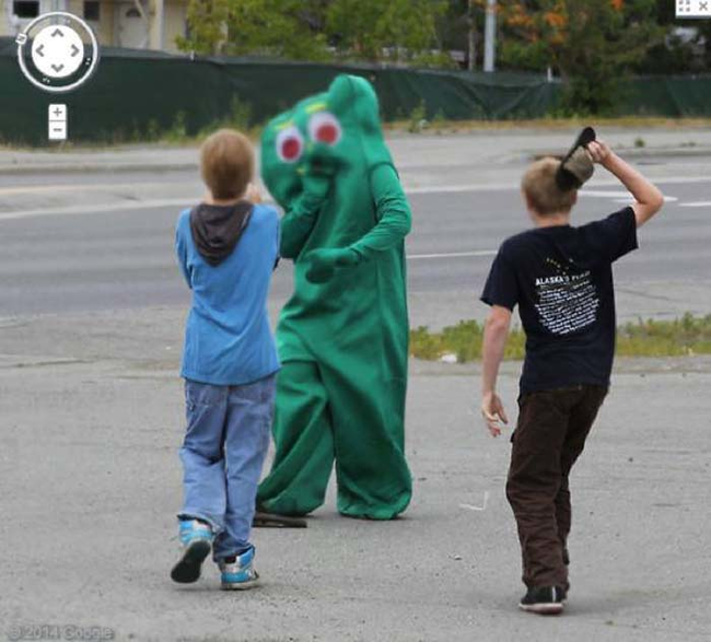 22.) Since when are kids attacking Gumby? Freaky.
