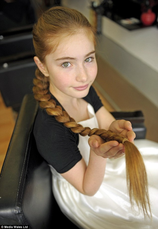 Great lengths: In her 12 year life, Katy, who wears her hair in a plait mostly, has only had her hair cut three times (apart from the time she cut her own fringe)