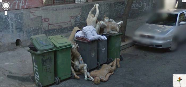 14.) This dumpster full of mannequins the stuff of nightmares.
