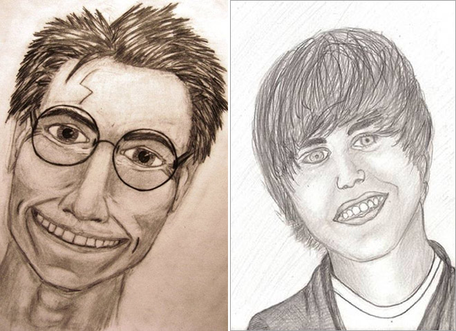Daniel Radcliffe as Harry Potter and Justin Bieber