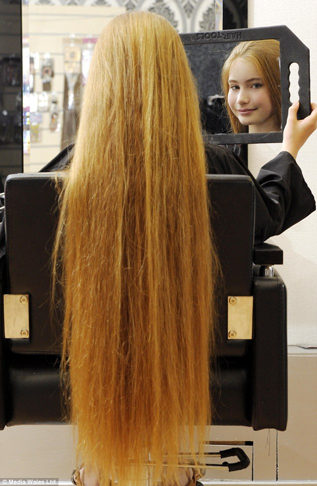Lengthy process:On average, Katy's hair takes an hour to wash and just as long to dry but a local hairdresser, who measured it, said it's in great condition