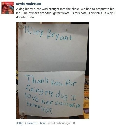 This little girl's note of gratitude: