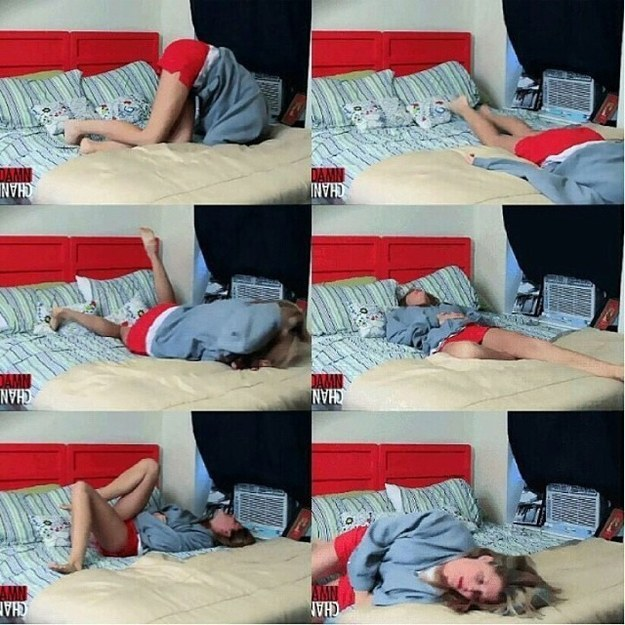 Trying to get comfortable when you have cramps.