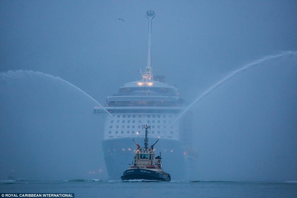 Royal Caribbean's brand new cruise ship Quantum of the Seas, the world's first smartship, arrives in Southampton
