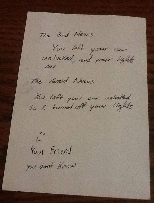 This note from someone just looking out: