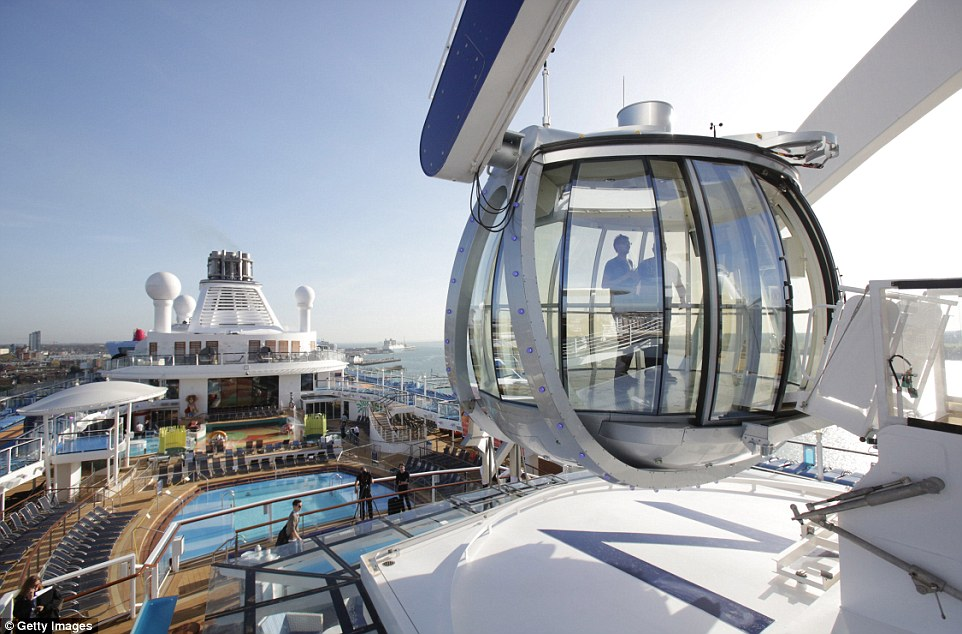 Room with a view: The pod suspends passengers out over the side of the ship for unparalleled views across the ocean
