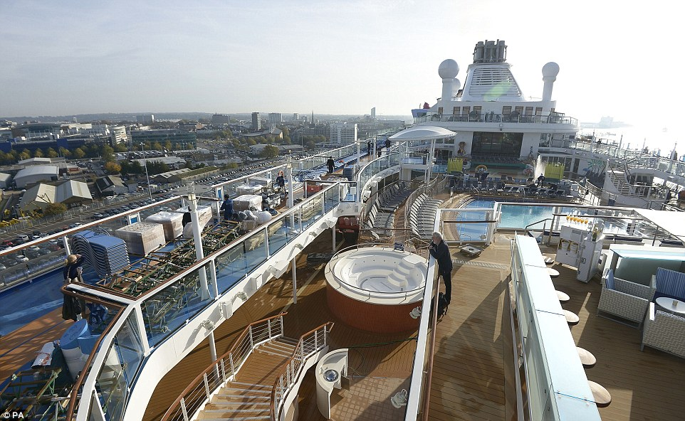 A view of the top deck of the Quantum of the Seas, the newest ship in the Royal Caribbean fleet