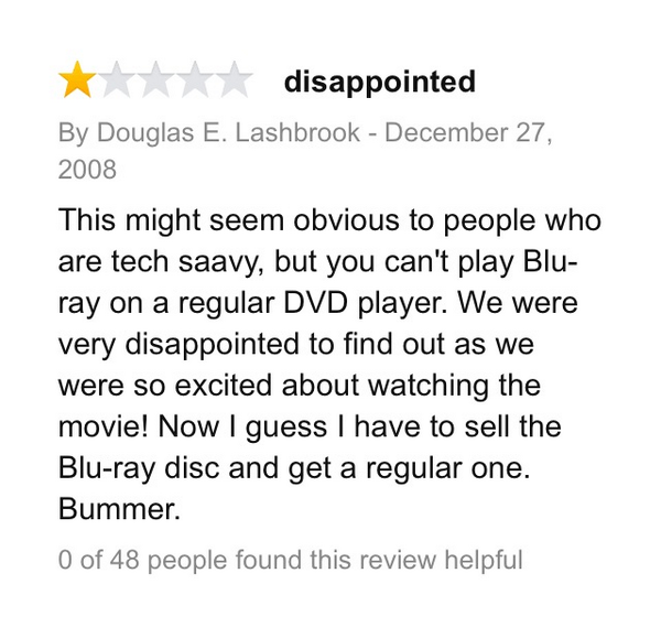 """17.) Seems more like a bad review for a DVD player, but it's actually a review for the movie, """"Top Gun."""""""