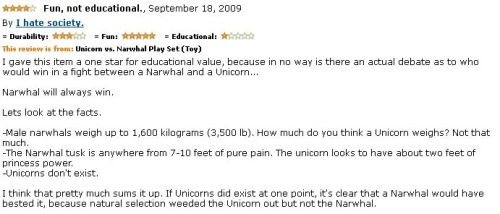 9.) A factual review of a Narwhal vs. a Unicorn play set.