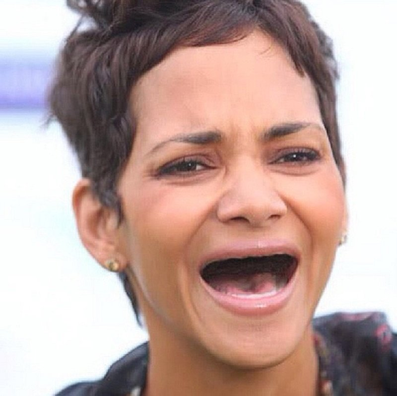 Halle Berry Without Teeth