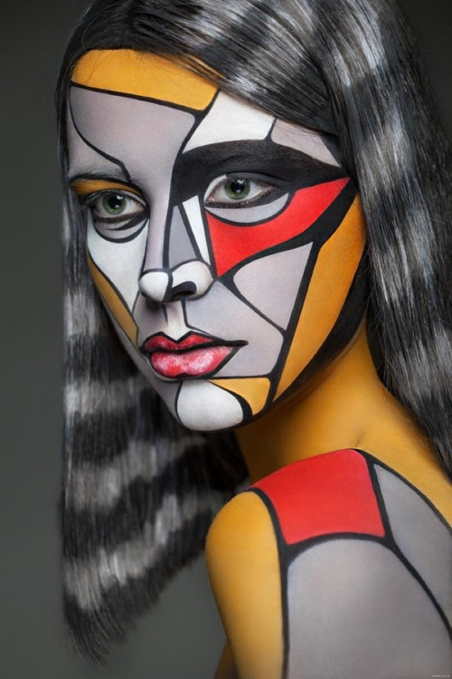 Russian Make-Up Artist Turns Models Into 2D Paintings